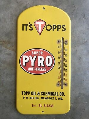 Vintage SUPER PYRO ANTIFREEZE Thermometer OIL Gasoline Auto Sign Not Porcelain