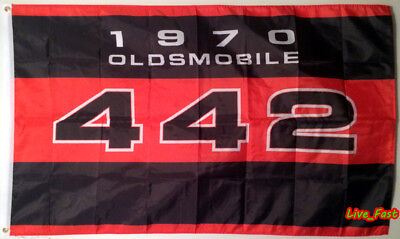 1970 Oldsmobile 442 Flag Banner W 30 Machine F 85 Cutless Muscle Car Poster