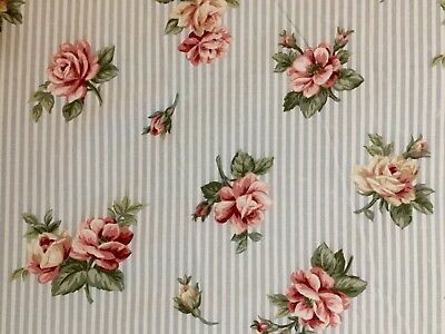 Vintage Springs King Size Fitted Blue Stripe With Pink Floral Overlay