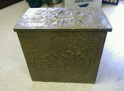 Vintage Brass Colonial Trunk, Early American Brass Box, Coal Box, Wood Kindling