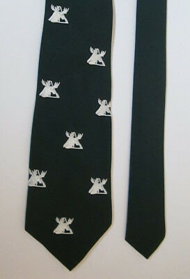 Men's Vintage Dark Green Tie with Embroidered White Moose / Deer Head Antlers