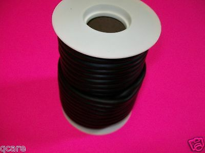 "50 Continuous FEET 1/8""ID X 1/32""W X 3/16""OD LATEX BLACK RUBBER TUBING sM52"
