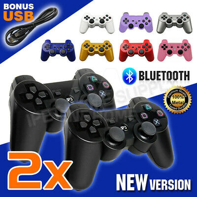 2pcs Dual Shock Wireless Bluetooth Game Controller Gamepad for PS3 PlayStation 3