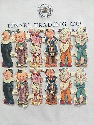 12 pcs Vintage/Antique Circus Clowns Diecut Victorian Scrap