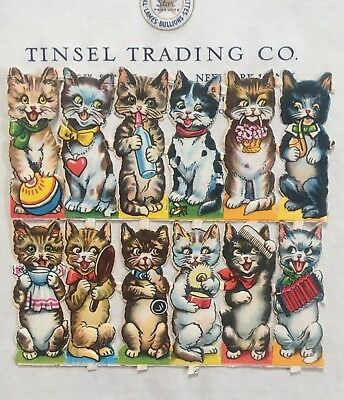 12 pcs Vintage/Antique Adorable Cats Kittens Diecut Victorian Scrap