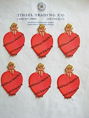 12 pcs Vintage/Antique Cherub Sitting On Heart Diecut Victorian Scrap Valentines