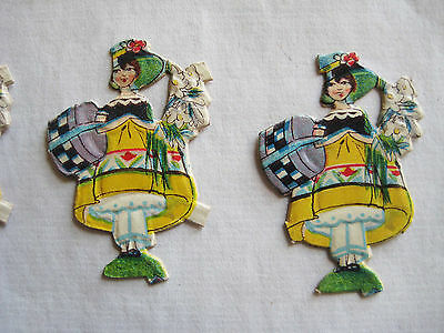 Vintage/Antique  Lady W/Hatbox Diecut Victorian Scrap 10 pcs