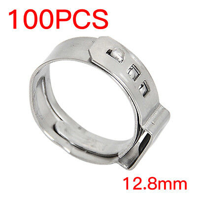 "100PCS 1/2"" PEX Tubing Stainless Steel Ear Clamp Cinch Rings Crimp Pinch Fitting"