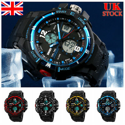 UK Mens Analog Quartz Digital Wrist Watch Display Sport Waterproof Wristwatches
