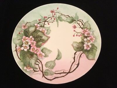 Antique/Vintage Hand Painted T&V Limoges France Wild Roses CHARGER PLATE 1916