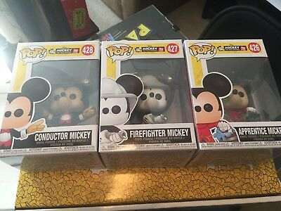 Funko Pop Mickey Mouse 90 Years set of 3 Disney Apprentice Conductor Firefighter
