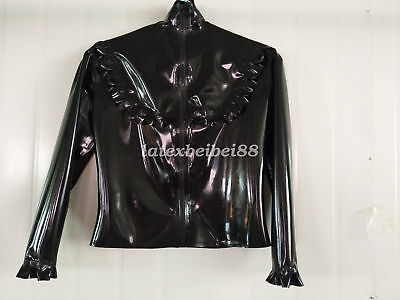 Hot Sale 100% Latex Rubber Gummi Casual Black Ruffle Coat Sexy Jacket Size S-XXL