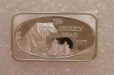 MM-172 The Grizzly Bear 999 SILVER ART BAR 1 Troy Oz COLLECTABLE USSC
