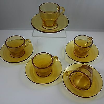 Set of 5 Vintage Amber Glass Demitasse Coffee Tea Cup Duos