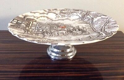Vtg single tier chrome base cake stand MYOTT Royal Mail Made in England Plate