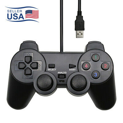 USB PS2/PC Computer 1.5m Wired Gamepad Game Controller Joystick Rocker LR Black