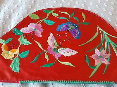 Antique/vintage Embroidered Silk Chinese Textile Collar?? Flowers Butterflies