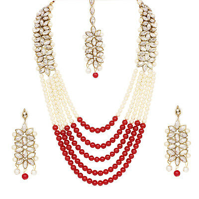Indian  Bollywood Designer 5 Line Long Kundan  Bridal Red Pearl Necklace 4pc Set