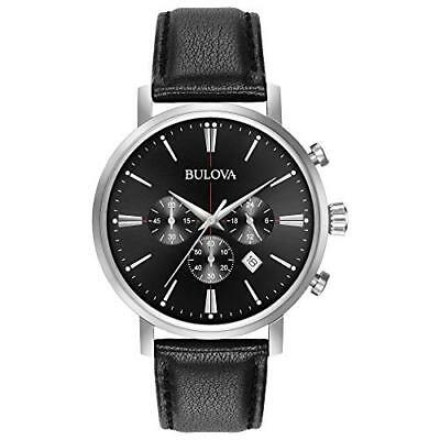 Bulova Mens Quartz Stainless Steel and Leather Casual Watch, Color:Black Model