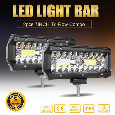 2x 7Inch CREE LED Light Bar Combo Beam Driving Truck 4WD Offroad Work Lamp 120W