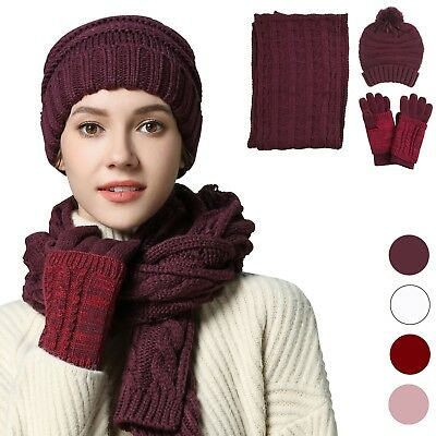 3 in 1 Fashion Women Beanie Hat Scarf Set Xmas Gift Touchscreen Gloves Pom Cap