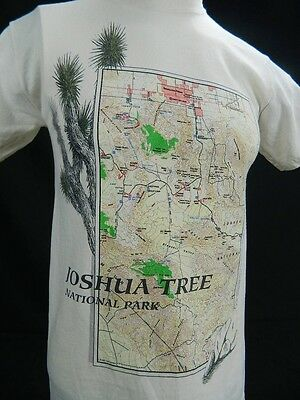 Vintage 90s MOUNTAINS DESERT JOSHUA TREE National Park Tourist Map T Shirt Small