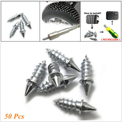 100 Pcs Metal Silver 25mm Car Truck Off Road Tire Tyres Snow Spikes Studs Screws