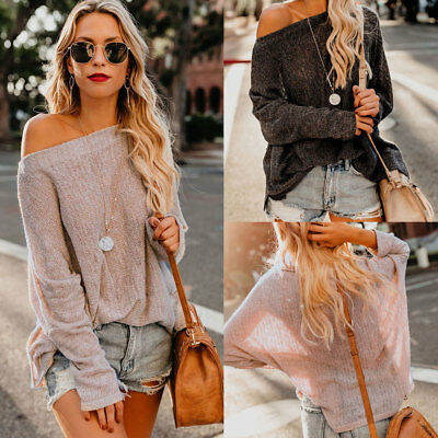 US Womens Fall Casual Long Sleeve Knitted Loose Sweater Jumper Tops Knitwear
