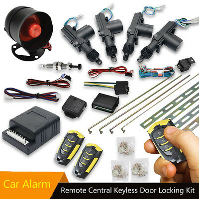 Car Alarm + 4 Door 2 Remote Central Locking Kit With Shock Sensor,Immobiliser Uk
