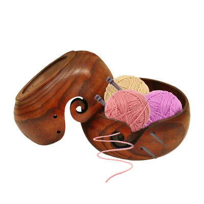 Wooden Yarn Bowl Holder Handcrafted Gift For Skeins Knitting Crocheting GS