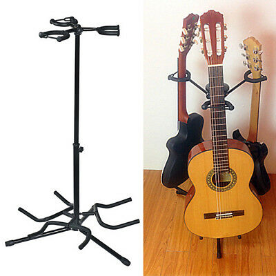 Triple Guitar Stand Guitar Bass Instrument Display Rack Holder Height Adjustable