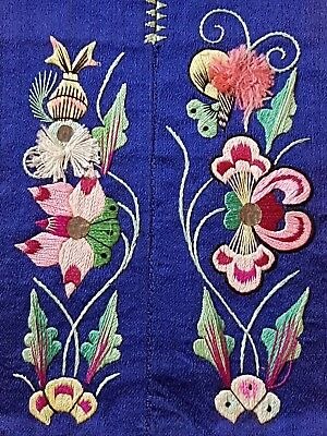 Antique/vintage Embroidered Silk Chinese Textile Flowers Butterflies