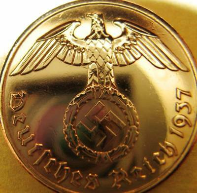 Nazi German 2 Reichspfennig 1937 Genuine Coin Third Reich EAGLE SWASTIKA RARE