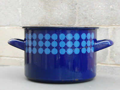 Vintage ARABIA FINEL BLUE DOMINO ENAMEL COOKING POT Made In Finland RETRO