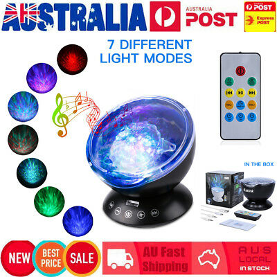NEW LED Ocean Wave Night Light Projector With 7 Colors Light Show Projection AU