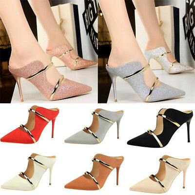 Womens Sexy Pointed Toe Shoes Metal Drilling Party High Heels Stiletto Sandals