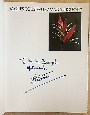 Jacques Yves Cousteau Genuine Autographed Amazon Journey Book Signed in 1980s
