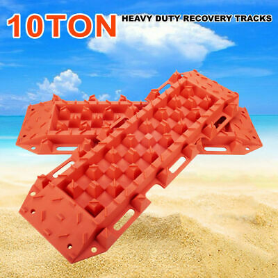 4x4 Orange Recovery Tracks 10T Off Road 4WD Sand Track Snow Mud Tyre Ladder Pair