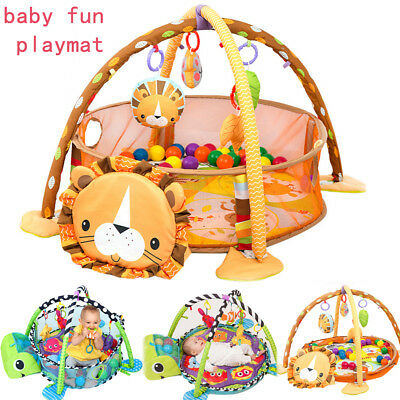 Lion /Turtle Baby Gym 3 in 1 Activity Play Floor Mat Ball Pit & Toys Playmat AU