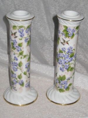 Pair Porcelain Hummingbird Club Crystal Cathedral Ministries Candlestick holders