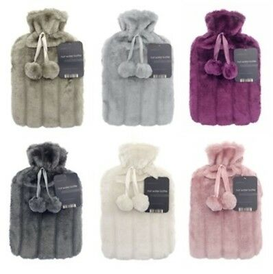 2 Litre Hot Water Bottle with Luxury & Cosy Faux Fur Cover with Pom Pom