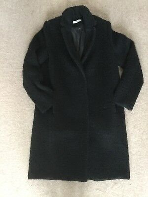 H&M womens black textured coat, size 8