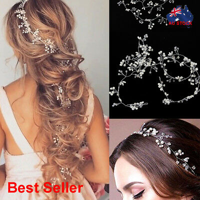 1 Piece Pearls Wedding Hair Vine Crystal Accessories Bridal Diamante Headpiece