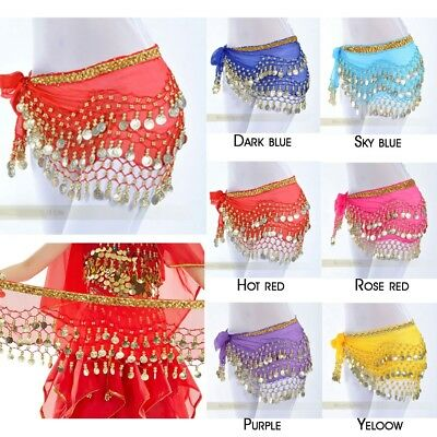 3 Row Coin Belt Skirt Belly Dance Hip Scarf Wrap Skirt Festival Fancy Sash Skirt
