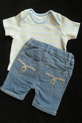 Baby clothes BOY 3-6m outfit blue/yellow stripe SS top/blue trousers SEE SHOP!