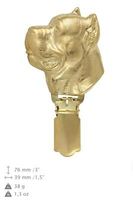 Cane Corso - gold plated clipring with image of a dog, Art Dog UK