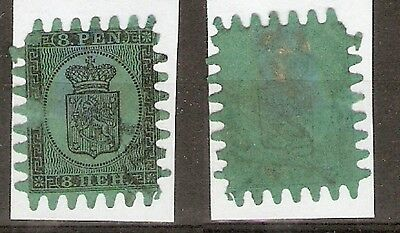 FINLAND - 1866 - 8 pen - black on  green with Serpentine Roulette - SG 46 - FU