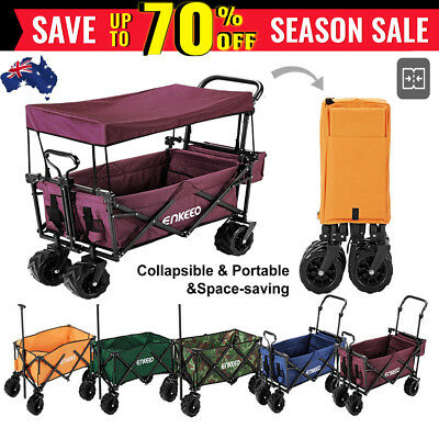100kg Heavy Duty Collapsible Cart Utility shopping Beach Wagon Trolley w/ Canopy