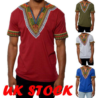 Fashion Men's Print African Style Long Sleeve Tribal Hippie Top T-shirt Blouse