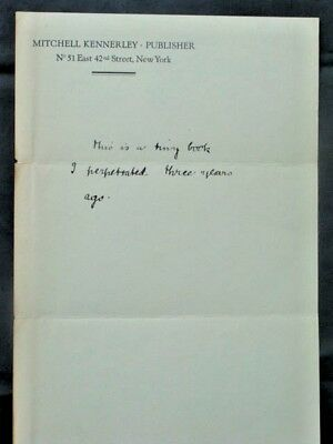 Mitchell Kennerley * autograph note * Ashley Library / Thomas J. Wise (1934)